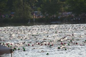 Mass Swim Start at Ironman Lake Placid 2012 - I'm the guy wearing the green swim cap.