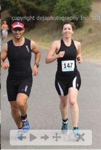 Running a few miles with Taylor at her first triathlon