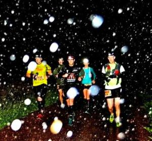 Grinding it out at TNFEC 50 miler around 5:30 AM in the rain.