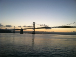 One benefit of being an early bird on the Embarcadero: sunrises over the Bay Bridge.