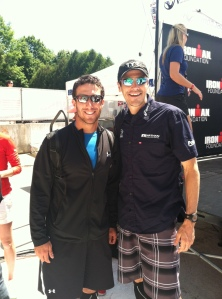 Enjoying a rest day before Ironman Lake Placid with the 2012 champion - Andy Potts.
