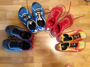My Altra rainbow - from left to right: Instinct 1.5, Torin, Lone Peak 1.5 and 3-Sum.