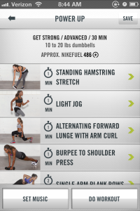 "The Nike Training App is great for plyometric workouts, particularly the ""Get Lean"" setting."