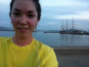 Awkward selfie in front of Aquatic Park this morning. Pretty sure real runners glisten, not sweat like pigs.