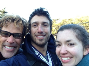 Dean Karnazes kindly posed for us as we walked back to the shuttle. Please note how pale I am post-50K.
