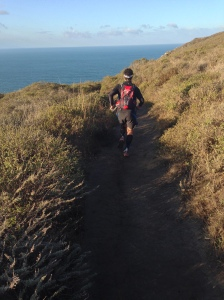 Enjoying a prime stretch of single track on the Coastal Trail
