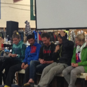 The running superstar panel answering questions.