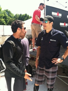 Consoling Andy Potts before he went on to win Ironman Lake Placid 2012 - almost a year after his DNF at Boulder 70.3