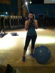 Unabashed gym selfie.