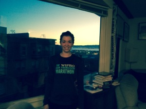 Sweaty post-run and the sunrise over the bay from our apartment.