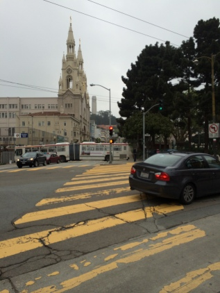 Coit Tower and Saints Peter and Paul Church in North Beach.