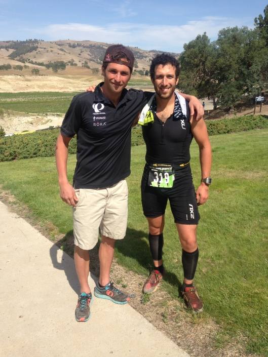 Jesse Thomas and I after Wildflower 2014 - a true role model for triathletes with broken feet!