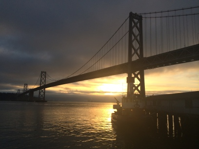 Yesterday's sunrise behind the Bay Bridge.