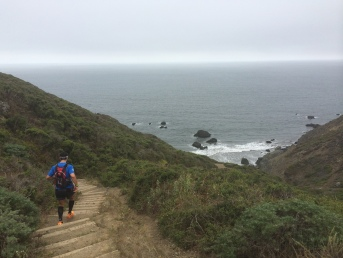 Running down the stairs on the Coastal Trail.