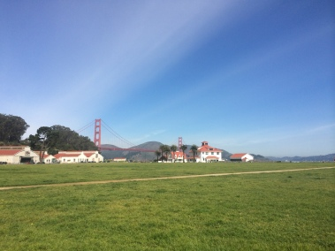 The warming hut and the Golden Gate at Chrissy FIeld.