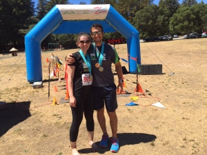 Jesse and I at the finish line of Crystal Springs. He won third in his age group!