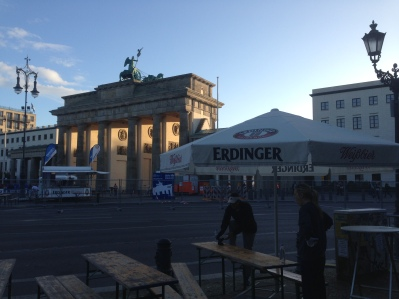 The finish line and the all important Erdinger tent meet-up spot.