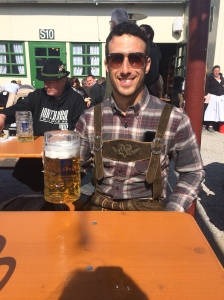 Jesse managed to borrow Lederhosen from a friend in Berlin for Oktoberfest.