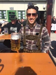 Jesse managed to borrow Lederhosen from a friend in Berlin for Oktoberfest.